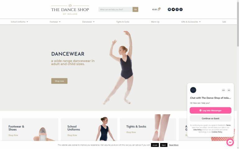 Dance shop home page